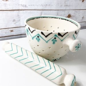 Anthropologie ceramic colander and rolling pin